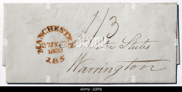 1820 hand-written envelope, postmarked Manchester, addressed to Stubs  (or Stubbs, file makers) of Warrington. - Stock Image