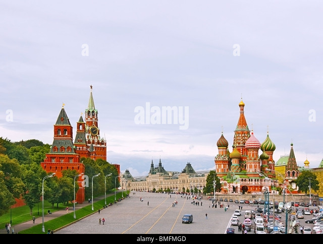 Red Square in Moscow, Russian Federation. National Landmark. Tourist Destination. - Stock-Bilder