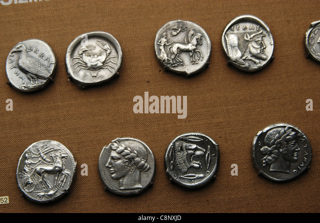 Ancient Greek coins from the numismatic collection of the Pergamon Museum in Berlin, Germany. - Stock Image