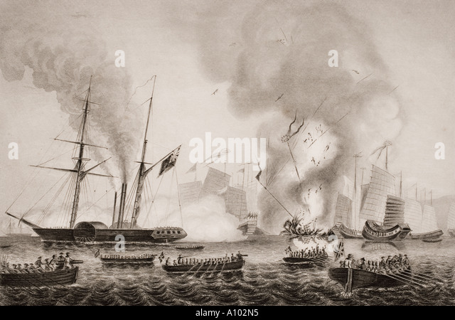 The Honourable East India Company's steamer Nemesis and others destroying Chinese junks, Anson's Bay, Tasmania, - Stock Image