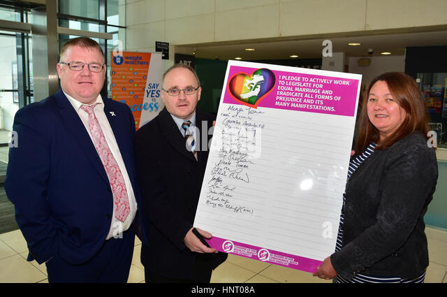 Armagh City, UK. 15th February 2017. West Tyrone Sinn Féin Election Candidates Declan McAleer, Barry McElduff - Stock Image