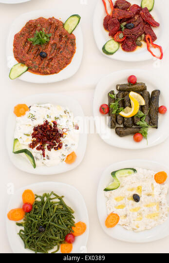 Traditional mezze, Sigacik, Seferihisar, Turkey - Stock Image