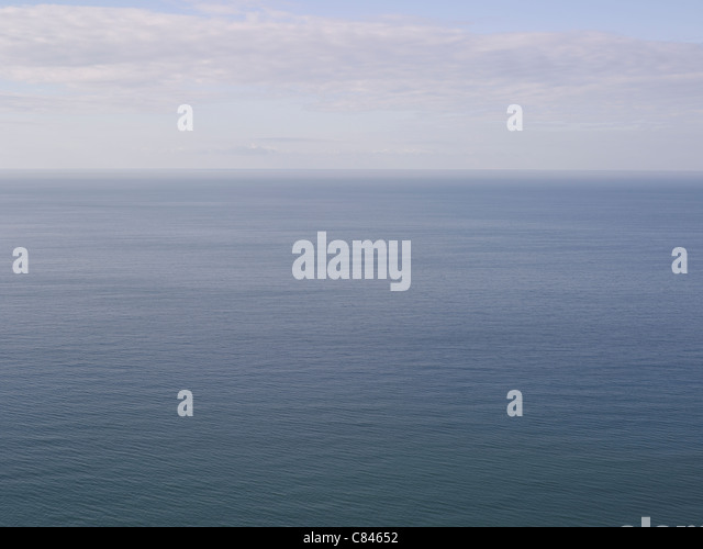 Aerial view of ocean and horizon - Stock Image