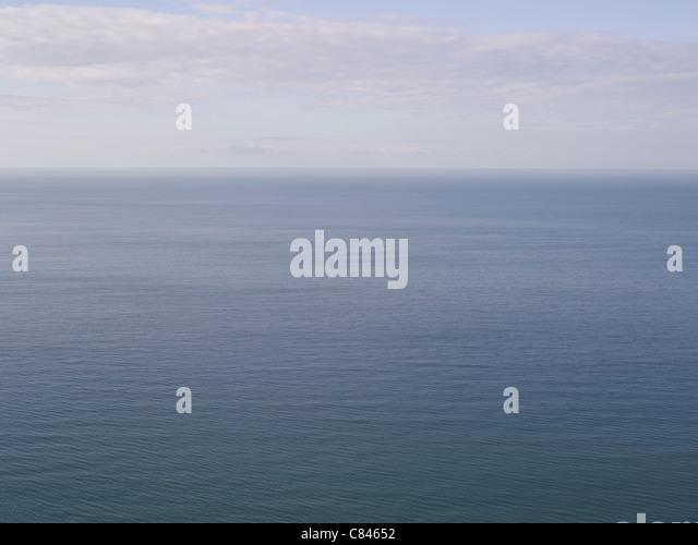 Aerial view of ocean and horizon - Stock Image