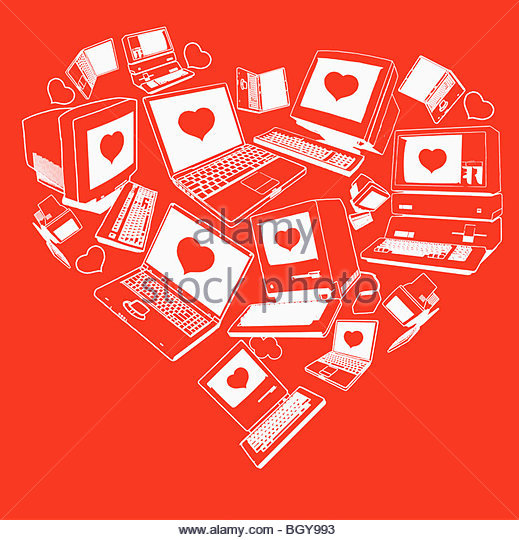 Computers with hearts on screen - Stock Image
