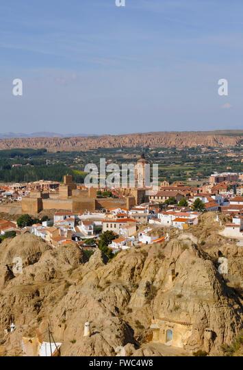 Guadix Granada province, Cave dwelling area troglodyte. Guadix cathedral Panoramic skyline landscape - Stock Image