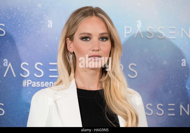 Madrid, Spain. 30th November, 2016. Jennifer Lawrence at the photocall of 'Passengers' at Villamagna hotel - Stock Image