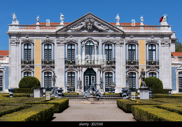 The National Palace of Queluz - Lisbon - Portugal. The Ceremonial Facade of the Corps de Logis designed by Oliveira. - Stock Image