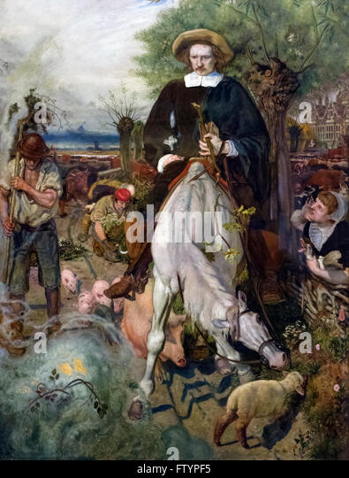 'Cromwell on His Farm St Ives 1630', a painting of Oliver Cromwell by Ford Maddox Brown, 1874 - Stock Image
