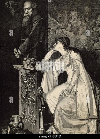 William Shakespeare (1564-1616). English writer. Romeo and Juliet. Juliet with Friar Laurence. Engraving by E. Hopmann, - Stock Image
