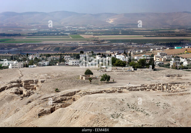 View of the archaeological site of Pella, also Tabaqat Fahl, Jordan Valley, near Irbid, Jordan - Stock Image