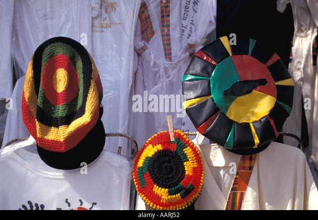 Jamaica Montego Bay Shopping Outdoor Craft Market Rasta hats t shirts - Stock Image