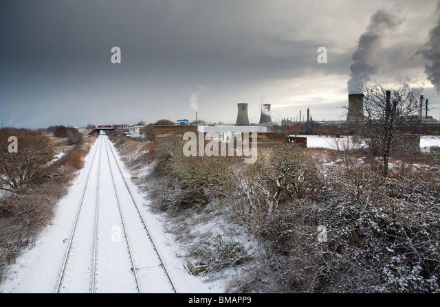 Haverton Hill Railway & Industry in snow, Billingham, Cleveland, England - Stock-Bilder