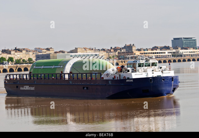 barge on the gironde with fuselage Airbus A380 bordeaux france - Stock Image
