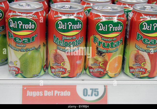 Panama City Panama Bella Vista Del Prado national company manufacturer brand fruit juice nectar can pear peach drink - Stock Image