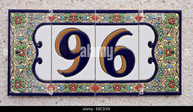 Ceramic tile house number stock photos ceramic tile for Spanish style house numbers