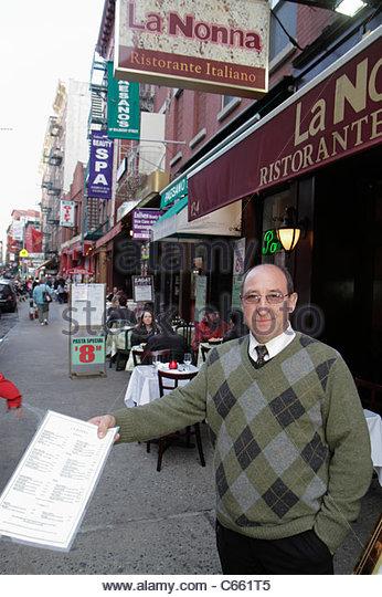 Lower Manhattan New York City NYC NY Little Italy Mulberry Street ethnic neighborhood La Nonna Italian Restaurant - Stock Image