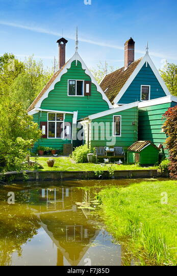 Traditional architecture in Zaanse Schans - Holland Netherlands - Stock Image