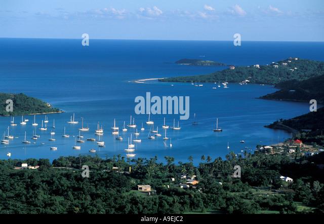 St John US Virgin Islands Overview aerial Coral Bay sailboats coastline south shore - Stock Image