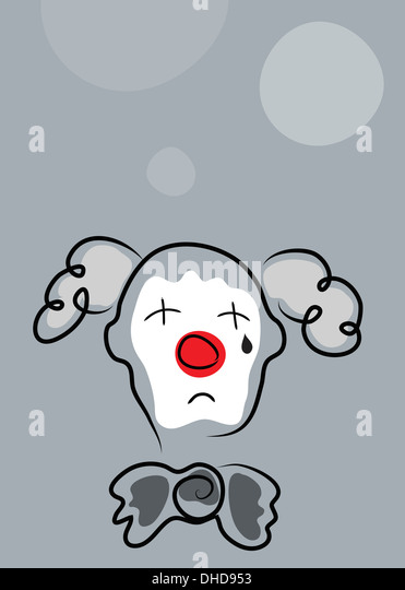 Sad clown with white face mask and red nose on gray background - Stock Image