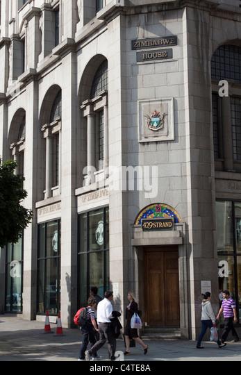 Zimbabwe House, home of the Zimbabwean Embassy, The Strand, London, England, UK - Stock Image