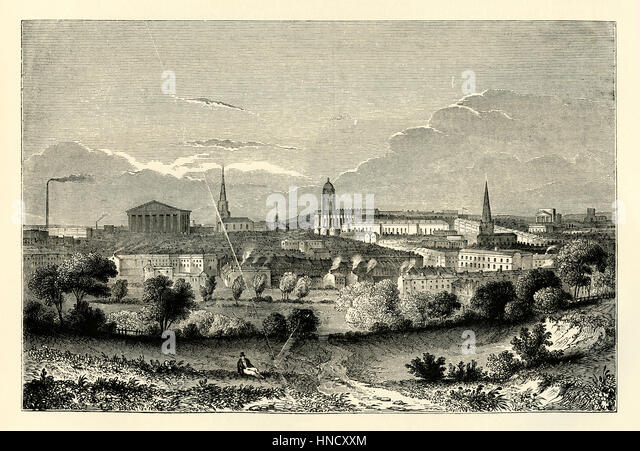 Birmingham, West Midlands, England – an old engraving c. 1840. A market town in the middle ages, Birmingham grew - Stock Image
