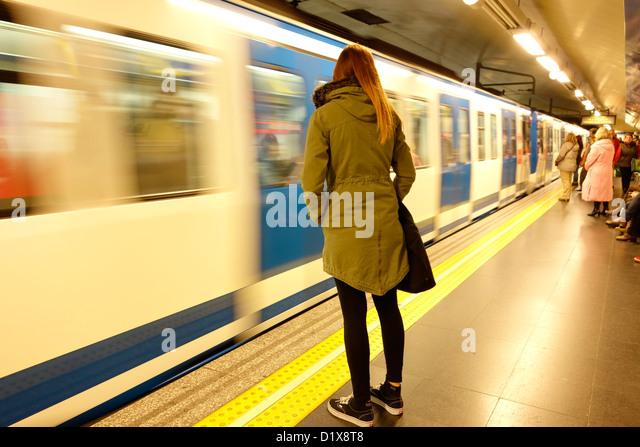 woman madrid metro travel spain blur motion passenger public transport - Stock-Bilder