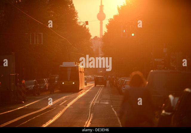 Berlin, Germany, a tram in the Wühlischstrasse in Friedrichshain- Kreuzberg - Stock Image