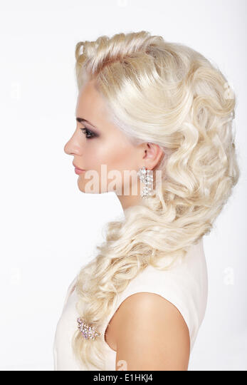 Sophistication. Profile of Fashionable Girl with Ashen Dyed Curly Hairs - Stock Image