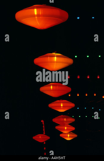 Suspended Light Fixtures In Upscale Hotel creative colorful patterns, USA - Stock-Bilder