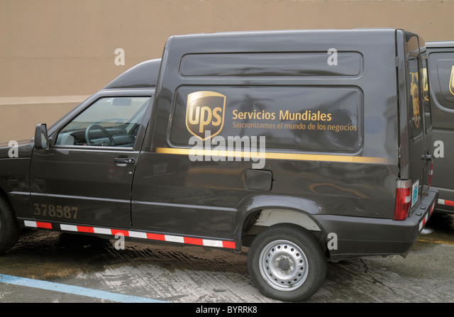 Panama City Panama Bella Vista UPS United Parcel Service business courier package delivery shipping international - Stock Image
