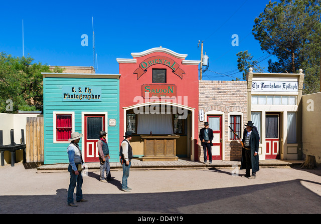 Re-enactment of the gunfight at the OK Corral, Tombstone, Arizona, USA - Stock Image