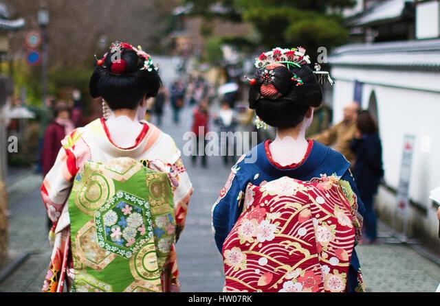 Japanese Geisha at Gion - Kyoto - Stock Image