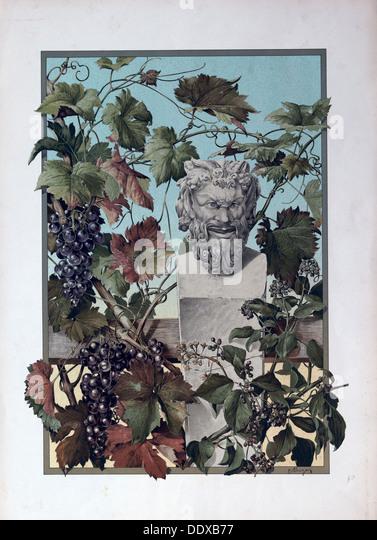 The plant, grapes, bacchus, wine, mythology, vine, symbol, statue, sculpture, 19th century, green, leaf, branch, - Stock Image