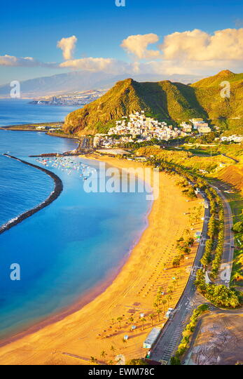 Teresitas Beach and San Andres, Tenerife, Canary Islands, Spain - Stock Image