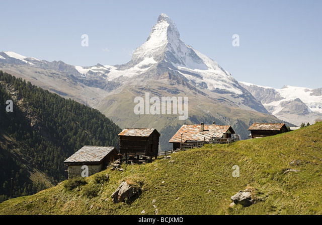Hillside houses near matterhorn - Stock Image