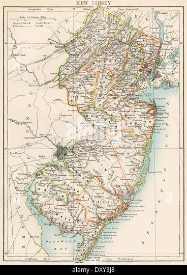 Map of New Jersey, 1870s. - Stock Image