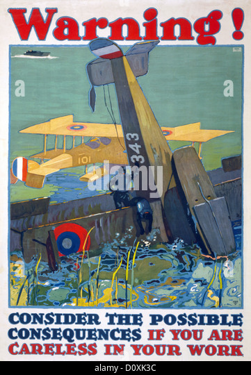 USA, World War I, American, poster, airplane, crashed, ocean, survivors, Warning, careless, work, 1917, - Stock Image