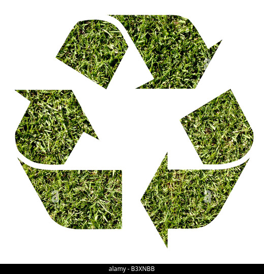 Grass recycle logo - Stock Image
