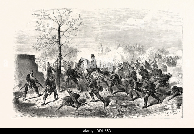FRANCO-PRUSSIAN WAR: ATTACK OF BOURGET BY THE PRUSSIANS ON 30 OCTOBER 1870 - Stock Image