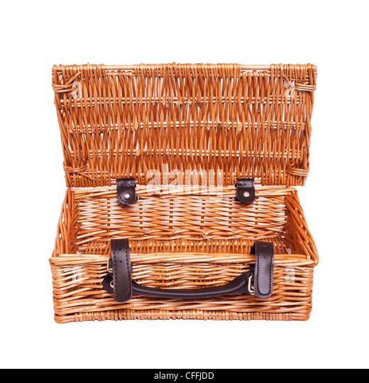 Traditional Small Wicker Basket With Liner&handle : Picnic basket cut out stock photos