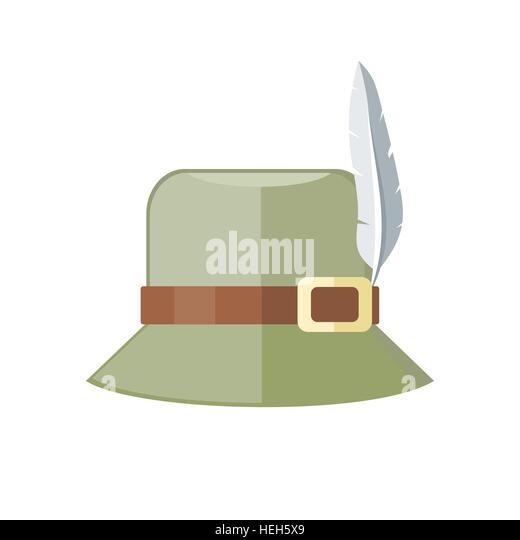 Summer Hat Isolated on White Background. Summer hat isolated on white background. Green panama with brown ribbon - Stock-Bilder