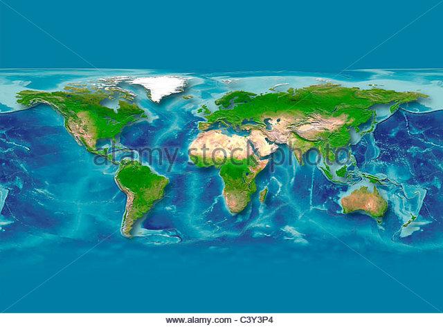 map, world, europe centered, physical, dark blue - Stock Image