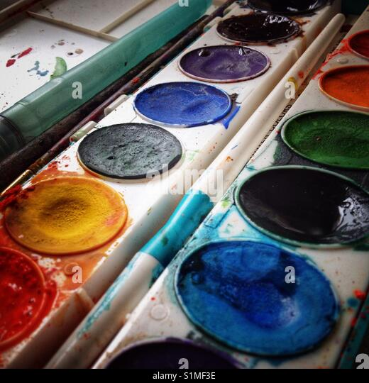 Tray of Watercolors. - Stock Image