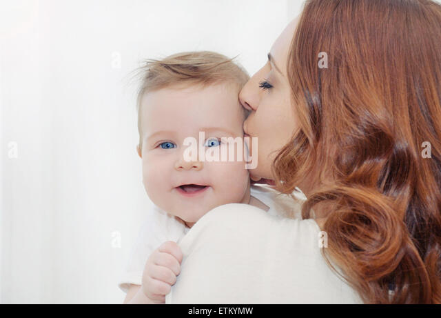 mother and her newborn baby, maternity concept, soft image of beautiful family - Stock-Bilder