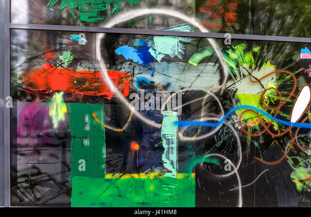 Damaged shop windows in Kreuzberg, Berlin - Stock Image