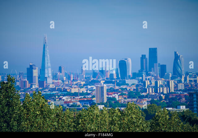 The London skyline taken from a hill in south London. - Stock Image