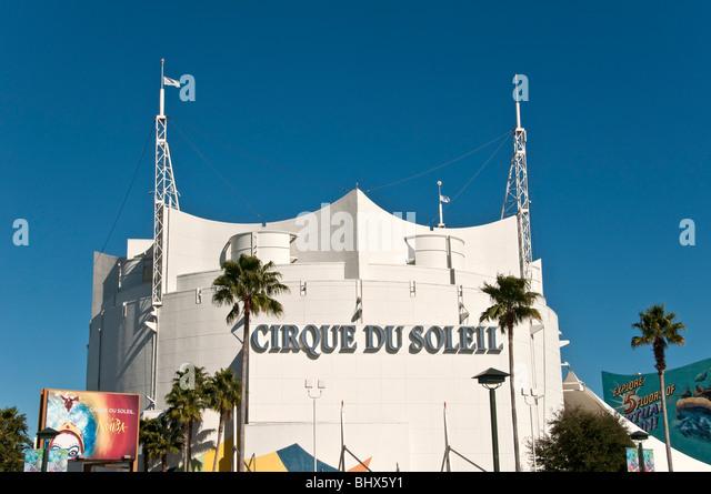 Cirque du Soleil giant white theater building exterior Disney Springs  West Orlando Florida FL - Stock Image