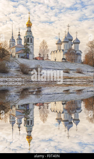 Sophia Cathedral and bell tower in the city of Vologda - Stock Image