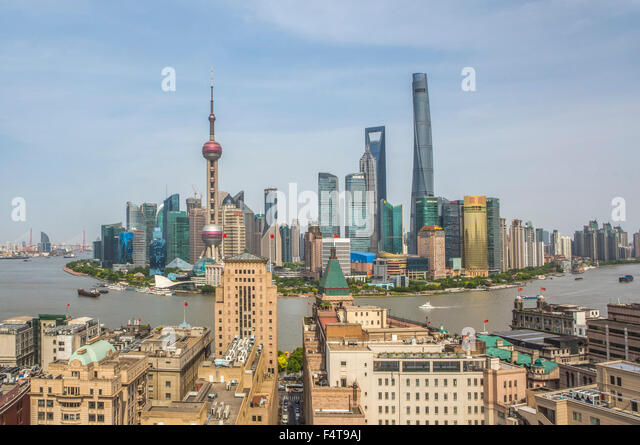 China, Shanghai City, The Bund and Pudong district skyline, Huangpu River - Stock Image